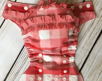 Gingham Ruffle Cover or Pocket Cloth Diaper