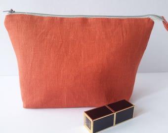Linen orange cosmetic bag Brilliant makeup storage  Gorgeous cosmetic pouch Accessory bag Linen cosmetic organizer Zipper makeup bag