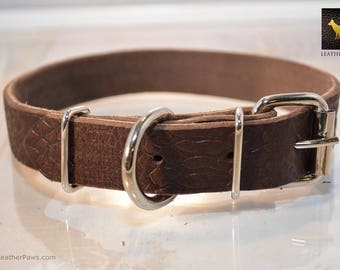 Leather Paws Dark Brown Textured Leather Dog Collar made with Genuine Cowhide