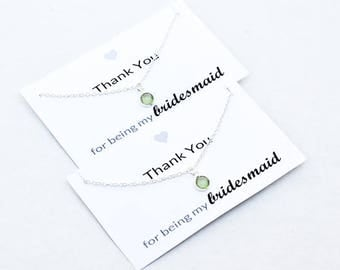 Bridesmaid Gift Bridesmaid Green Pendant Necklace for Bridesmaid Necklace Bridesmaid Jewelry Unique Bridesmaid Gift for Bridesmaid 00AWE003