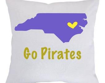 Go Pirates Pillow- Graduation pillow, Graduation Gift, Custom Graduation Pillow, College Pillow, Collegiate Pillow, East Carolina