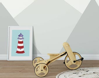 Lighthouse Art, Lighthouse Print, Kids Beach Art, Nautical Nursery, Nautical Kids Room, Kids Gift, Kids Art, Kids Prints, Framed