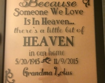 Because someone we love is in heaven picture frame home wedding personalized memorial