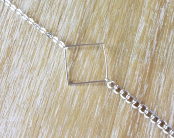 Graphic silver square bracelet