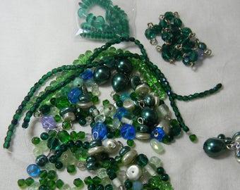 Mixed Greens 1a BbO Green Glass Bead Soup Destash