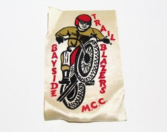 Motorcycle Club Patch Bayside Trail Blazers - Old 1970s Jacket Patch - Motorcycle Gang - Bike Club Patch