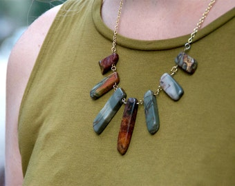 Red and green jasper necklace