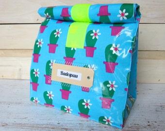 Kulturtasche, Lunchbag groß, Kaktus im Topf, beschichtete Baumwolle