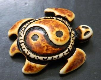 Bone & Resin Sea Turtle Pendant - Tribal Islander Sea Turtle Amulet - 1 Amulet Per Order - Detash Emporium