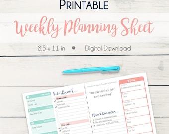 Printable Weekly Planner Page
