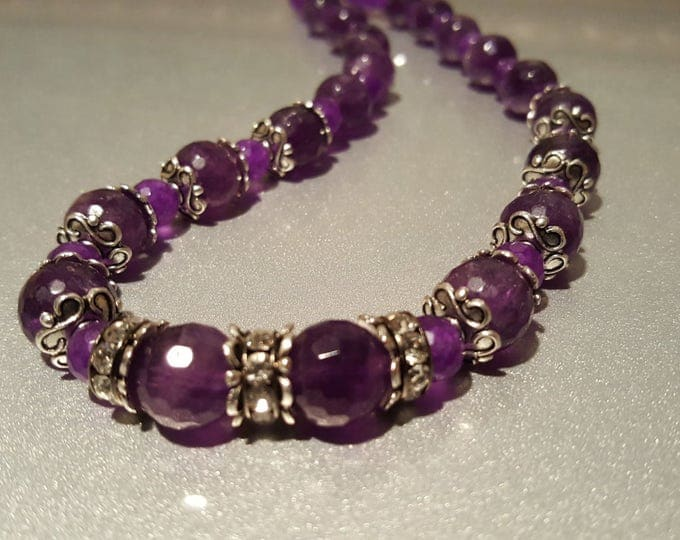 Amethyst Necklace,  Purple, Faceted beads with Toggle closure 19 inches