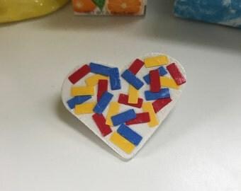 Primary color confetti heart pin!!