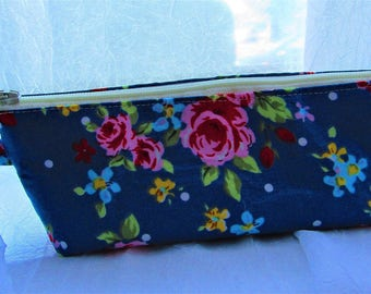 Spectacles and sunglasses pouch with blue floral design
