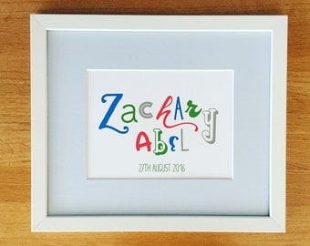 Bespoke Typography Name Print/ Personalised Print/ Typography Wall Art/ Bespoke Gifts/ Custom Typography Name Art/ Children's Gifts