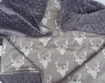 Grey deer head minky baby blanket