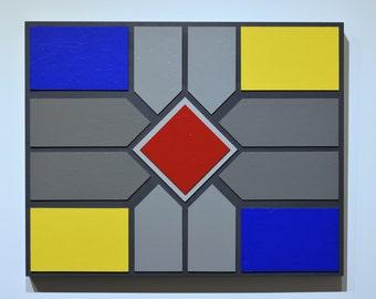 Shades of Grey 15 - original contemporary mixed media painting of acrylic on wood