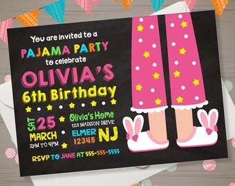 PAJAMA PARTY Invitation Pajama Party Birthday Invitation Pajama Party Invite Sleepover Pajama Party Invitation Chalkboard Slumber Birthday