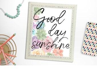 Good day sunshine Beatles lyric print watercolor floral