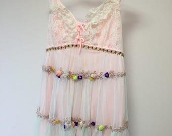 Fairy Kei Remade Pink Dress