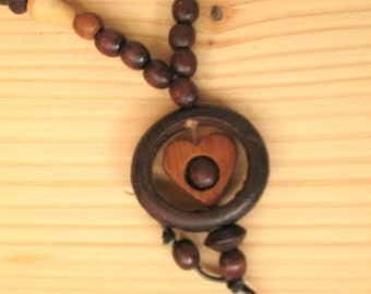 Vintage wooden necklace Wooden bead necklace Wooden jewelry Women gift Natural wood beads Brown boho Tribal vintage Rustic boho necklace