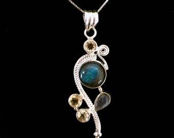 Sterling Silver Pendant, Gemstones Pendant, Sterling Silver Pendant,  Moonstone, Onyx