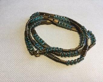 Green on Copper 3 Wrap Bracelet
