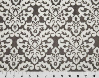 Gray Damask Minky, Shannon Minky Fabric, Charcoal Grey Damask Minky Fabric, Fabric by the Yard
