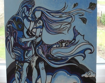 Gothic Painting - windswept lovers : original art work hand painted