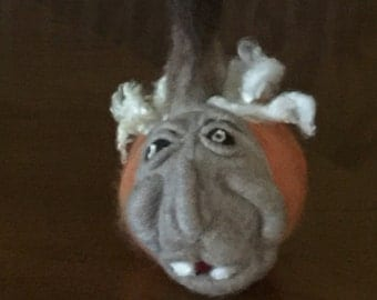 Whimsical Felted Pumpkin Face