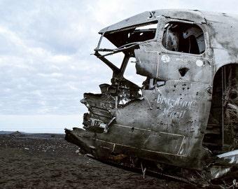 Iceland Plane Wreck Print 1 - Aviation Crash Print- Sólheimasandur's Black Sand Beach Photograph - Iceland Ring Road - Adventure Photography