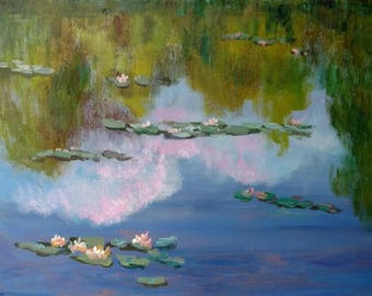 Water Lilly Giverny Impressionist Monet Pond Canvas Acrylic Garden Reflection France, clouds trees foliage