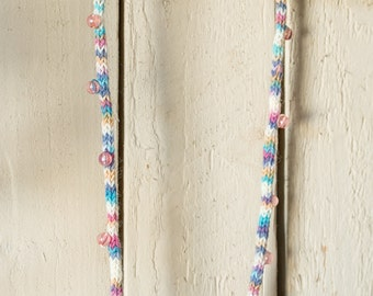 Upcycling necklace of wool in pink-blue white and Pearl