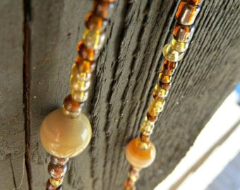 Brown Handmade Glass Bead Necklace