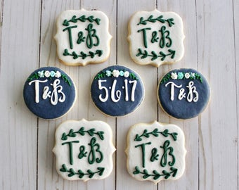 1 Dozen Bridal Shower or Engagement Party Decorated Sugar Cookies