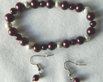 Elastic Burgundy and Silver Ball or Amethyst and Purple Pearl with Silver Ball Bracelet and Earring Set