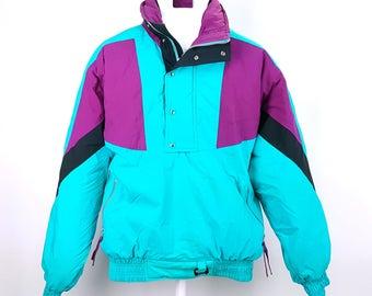 90s Bright Color Block Ski Jacket Teal Purple Black