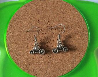 Handmade pumpkin carriage dangle earrings