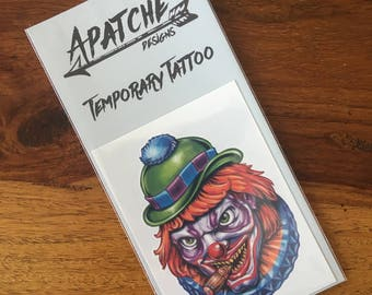 Smokin' Scary Clown Temporary Tattoo