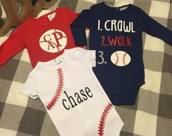 Baseball onesie/boy monogram/boy baby shower gift
