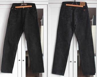 Vintage Mustang Jeans High Waisted Black Denim Trousers Classic Fit Unisex Men Women Retro Clothing High Fashion W29 / Medium