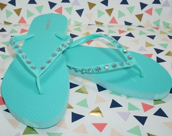 Mint Flip Flops Embellished With Turquoise AB Crystals