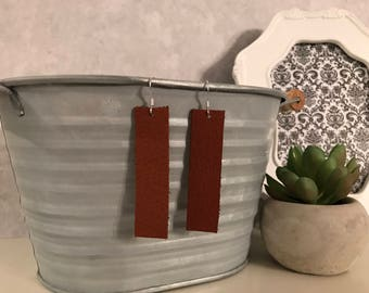 Brown leather bar earrings