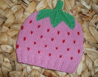 Sweet Fruit Raspberry Baby Hat Toddler Hat - several sizes - pure merino wool