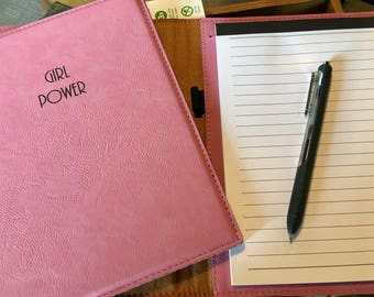 """Engraved 7"""" x 9"""" Pink Leatherette Mini Portfolio with Notepad - GIRL POWER"""