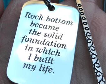 "Silver Tone Bookmark with Custom Engraved ""Rock bottom became the solid foundation in which I built my life"" Charm J220"