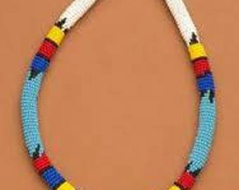 African masai beaded necklace/multicolored necklace. African chocker necklace/zulu necklace