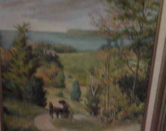 Vntg Horse Buggy Landscape Painting-Signed