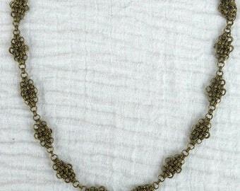 Chainmaille Halskette Japanese 12 in 2 bronzefarben