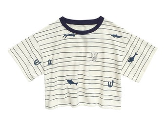 Underwater World Print and Wave Stripes T-Shirt