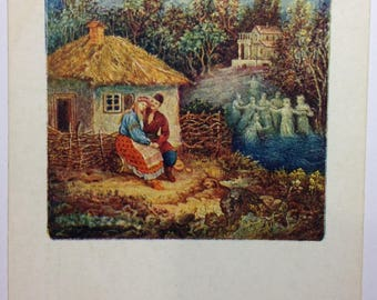 Vintage postcard Miniature to the work of Gogol May night or drowned woman Scrapbooking Vintage art Ukrainian Folklore